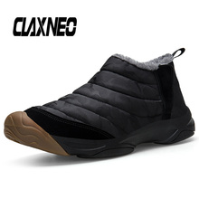 CLAXNEO Man winter shoes Plush Fur Warm Male Boots Waterproof Outdoor Mens Snow Boot Slip on