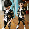 2015 Children's Spring and Autumn clothing children long-sleeved suit boys fashion skull harem pants Korean Sets