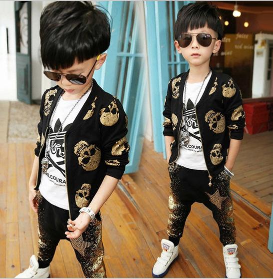 2015 de Primavera y Otoño ropa de los niños de manga larga traje niños moda pantalones harem cráneo Coreano Conjuntos