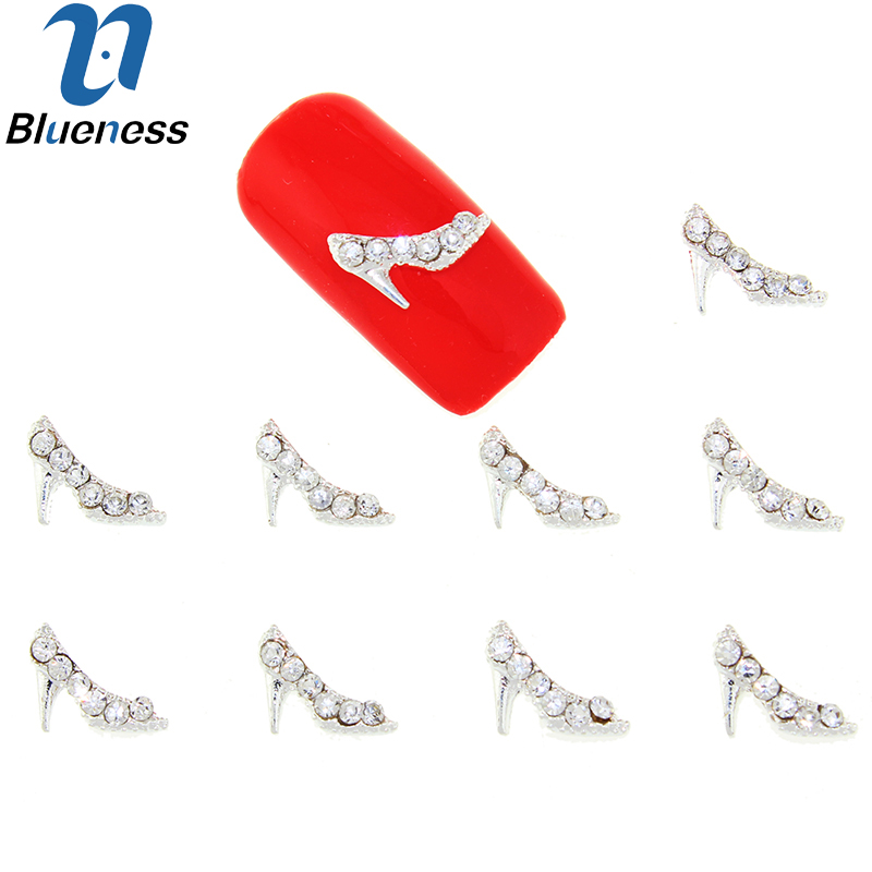 10Pcs/Lot Silver Alloy Metal High-heeled Shoes Rhinestones Studs Supplies For Charms Nails 3D Strass Nail Art Decorations TN1642 бра eglo basilano 1 39105
