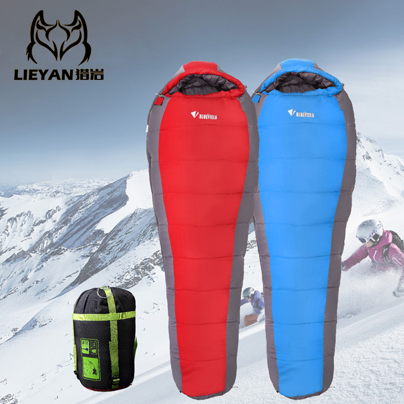 ФОТО Outdoor autumn and winter thick warm camping sleeping bag adult mummy travel tent sleeping bag super light