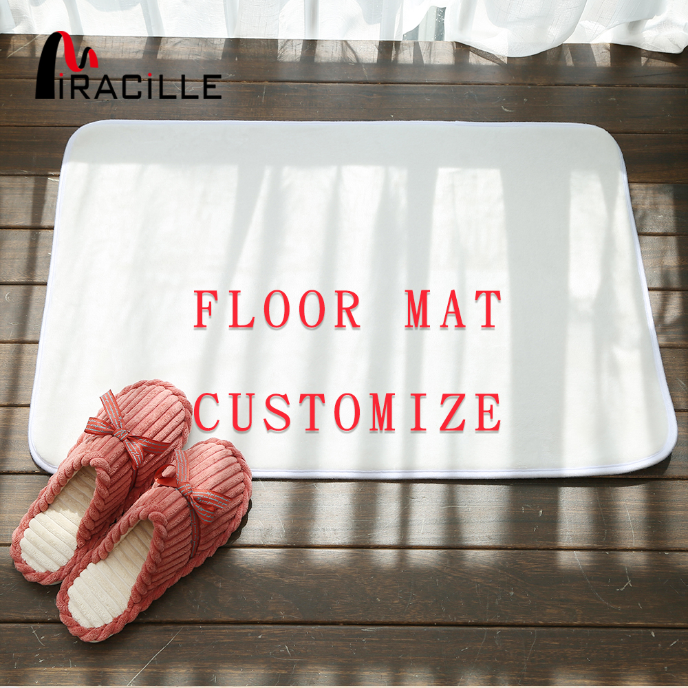 Miracille Customized Coral Fleece Floor Mat Bath Decor Anti Slip Door Mat With Your Image Rugs And Carpets For Home Living Room