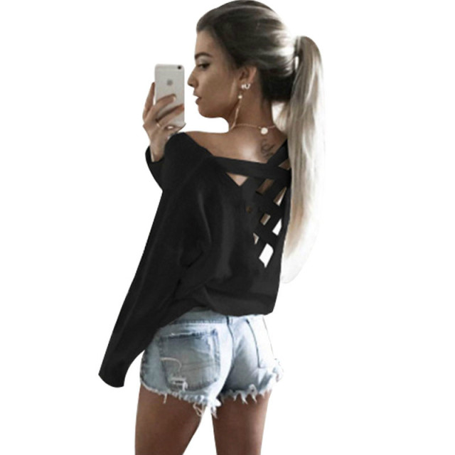 20c3d0b27fd717 2018 Spring Women Sweatshirt Hoodies Sexy Long Sleeve Mesh Top Loose  Cropped Sexy Bandage Cross Tie Open Back White Crop Top