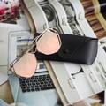 New Arrival Big Mirror Sunglasses Plus Glasses Case Women Hexagon Lovers Hippie UV400 Pilot Hollow Out Sun Glasses