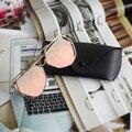 Nova Chegada Grande Espelho Óculos De Sol Mais Caso Óculos Mulheres Amantes Hippie UV400 Piloto Hexágono Oco Para Fora Óculos de Sol