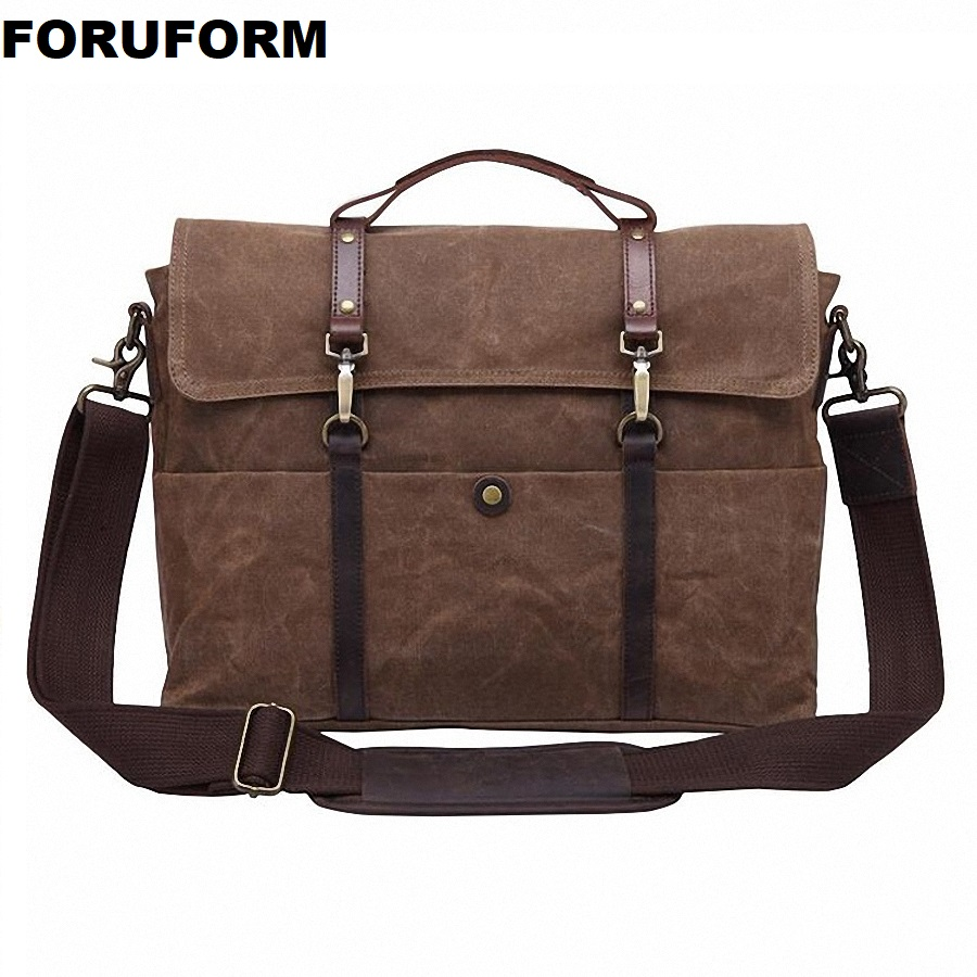 Retro Briefcase Men Business Computer Messenger Bag Crazy Horse Leather&Canvas Crossbody Bag Male Laptop Handbags LI-2295