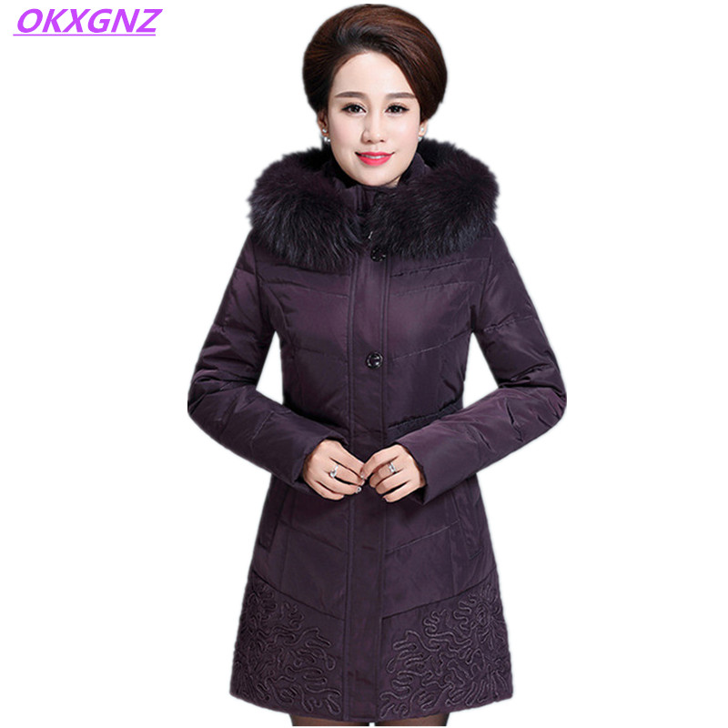 OKXGNZ Winter Feather Cotton Jacket 2017 New Middle-aged Long Coat Hooded Fur Collar Elegant Warm Big Yards Women Clothes A003 winter new middle aged women leather outerwear middle length thickening jacket coat women plus size warm down cotton coat okxgnz