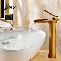 Basin Faucets Waterfall Bathroom Faucet Single handle Basin Mixer Tap Bath Antique Faucet Brass Sink Water Crane Silver A17