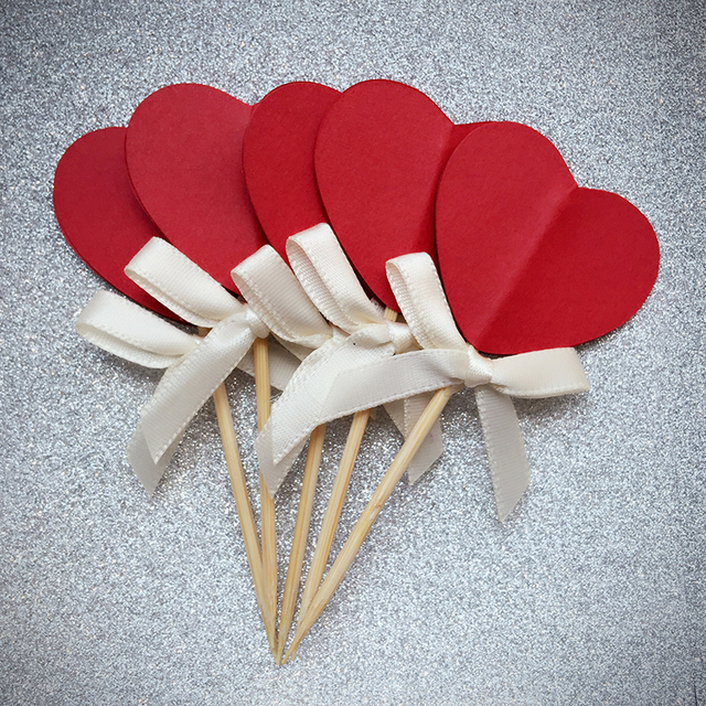 bow red heart cupcake toppers picks birthdaywedding party decoration favors cake dessert decorations bridal