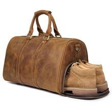 купить Vintage Crazy Horse Genuine Leather Bag Men Duffle Bag Luggage Travel Bag Natural Cowhide Large Weekend Bag Hangbag X-7077B дешево