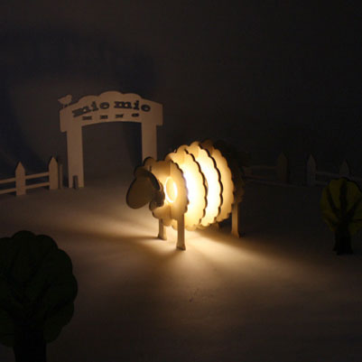 EG cute adorable bleating sheep lamp base DIY handmade wooden ...