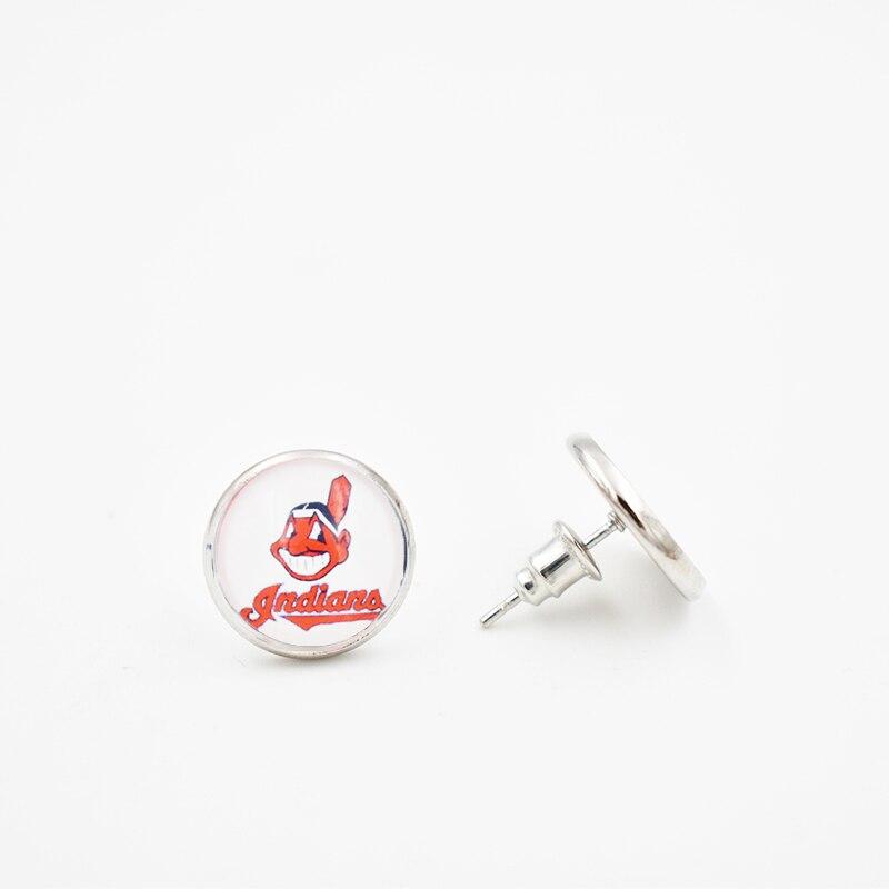 10 пар 2018 Серьги-гвоздики 4 стиль Кливленд 12 мм Стекло круглый кусок Серьги Бейсбол команды для Для женщин Для мужчин Вентиляторы подарки