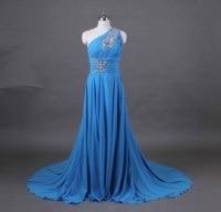 One shoulder strap bridal party dress chiffon wedding dress celebrity dress sweep Train beaded custom US 2 4 6 8 10 12 14 16 18