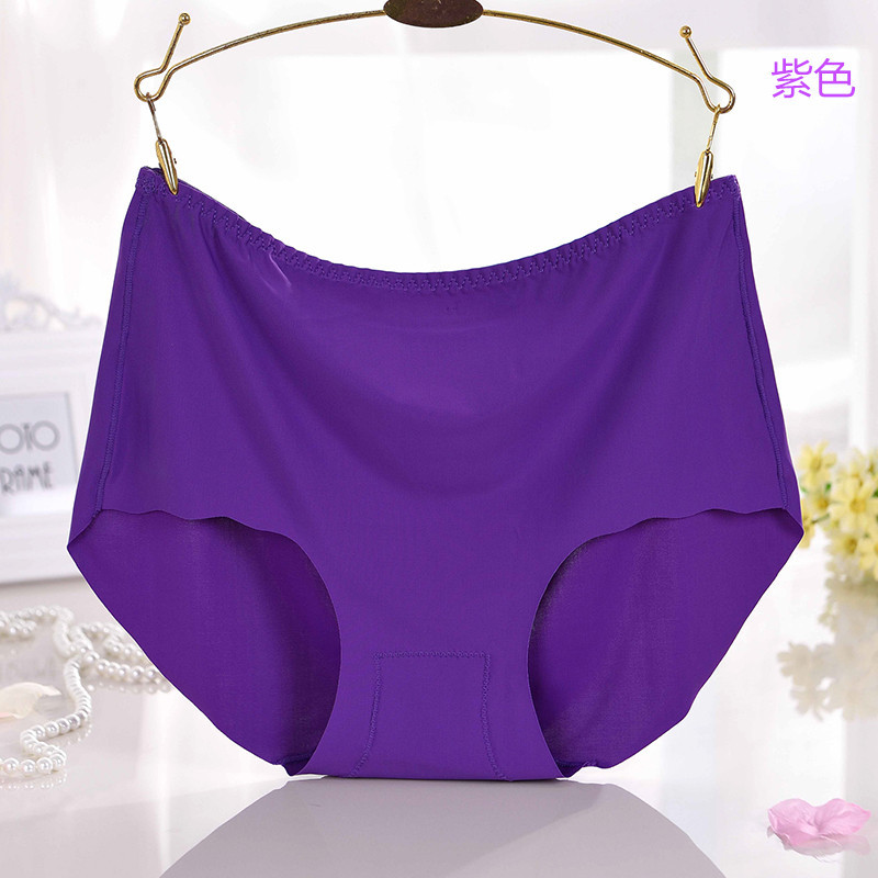 KJ266 Women oversize underwear briefs female ice silk seamless knickers ladies high waist lingerie   panties   calcinha cintura alta