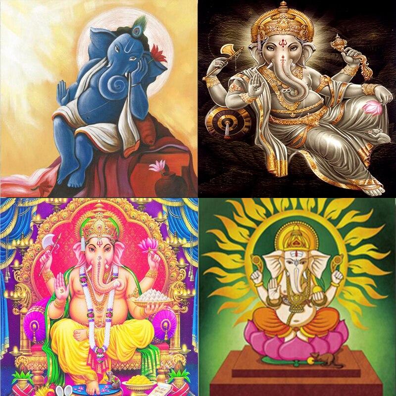 Maa vaishno devi Ganesha bricolage   Peinture au diamant 5D, broderie au point de croix rond/carré, peinture au diamant cousue