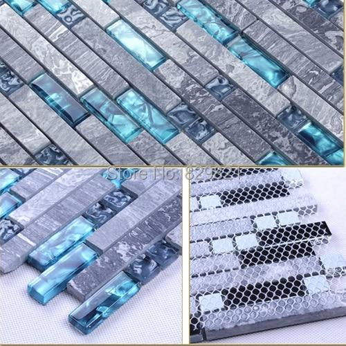 Metrotegels Keuken Kopen : Blue Glass Stone Mosaic Tile Kitchen Backsplash