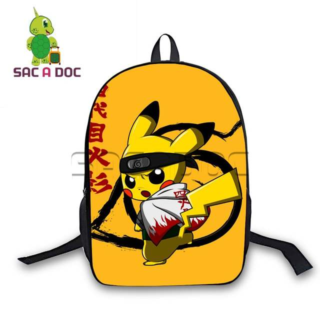 93caebd436a6 Women Men Anime Pokemon Cosplay Backpack Chibi Pikachu Naruto Backpack for  Teenage Girls Boys School Bags Daily Backpack