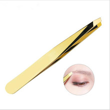 1pcs lashes hair removal eyebrow clip Eye Brow Trimmer Tweezers Gold Stainless Steel Face eyelash holder makeup tool