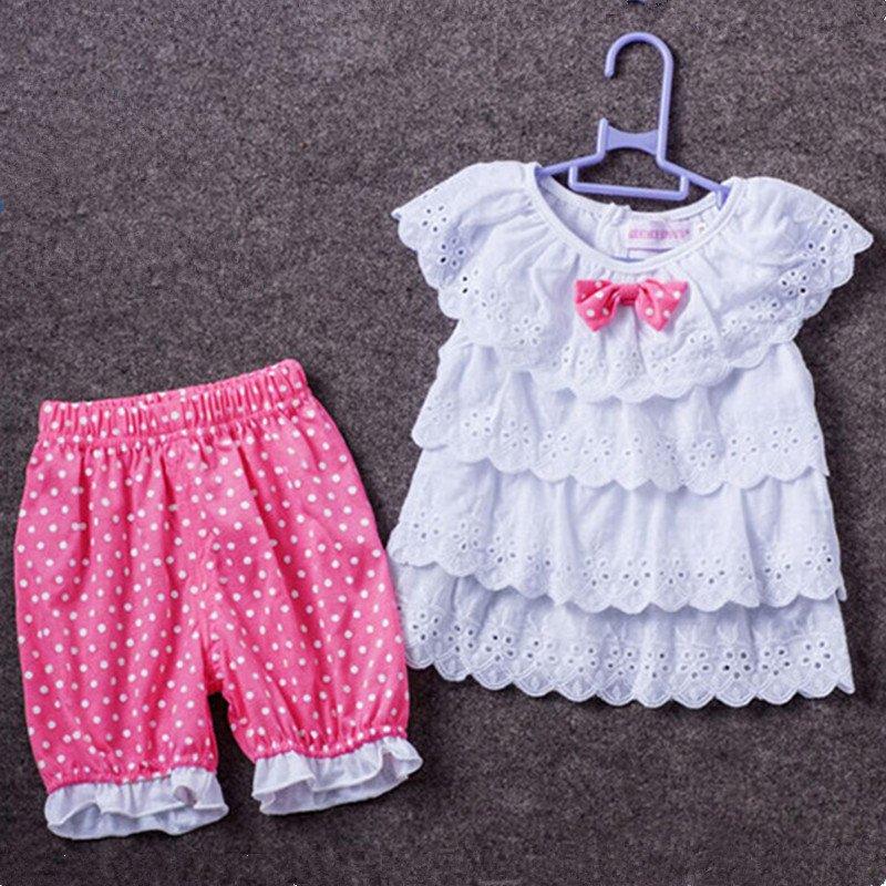 Fashion 0-2Y Casual Girl T Shirt + Pants Sets Cotton Children Clothing Baby Suit Newborn Tracksuit Kids Clothes Summer T-Shirt
