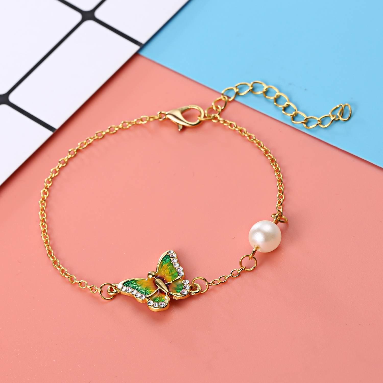 Ethnic Enamel Butterfly Summer Fashion Bracelet Vintage Dazzling Rhinestone Pearl 2019 Trendy Bracelets for Women in Chain Link Bracelets from Jewelry Accessories