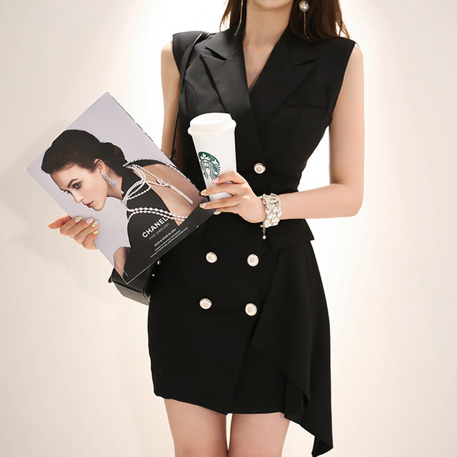 efa7e39785d black blazer vest dress women summer 2018 korean fashion office work  overall dress Double Breasted Suit Collar Business Dresses