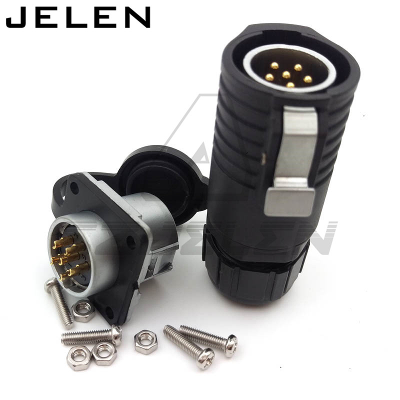 XHE20, IP68 weatherproof male female 6 pin connectors, Current Rating 12A, LED Panel mount waterproof connector, wire connector lemo 1b 6 pin connector fgg 1b 306 clad egg 1b 306 cll signal transmission connector microwave connectors
