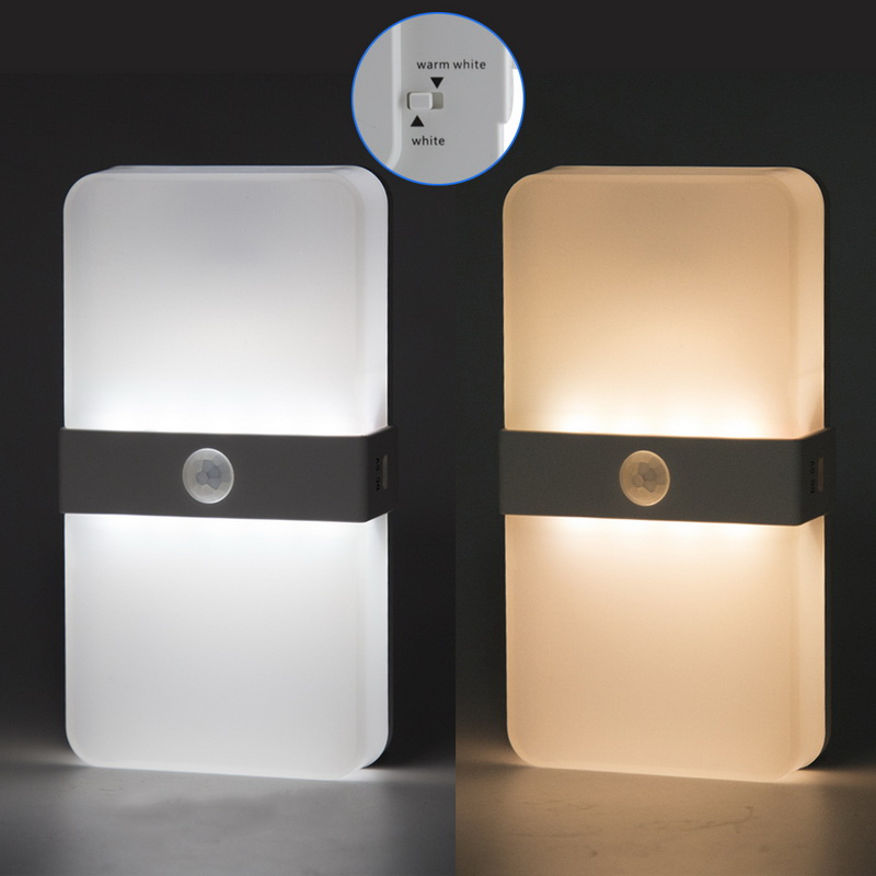 Motion Sensor LED USB Rechargeable Portable Night Light Double Color Light For Closet Cabinet Camping