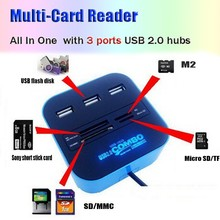 2015 New Multi All in One USB 2.0 Hub 3 Ports with Card Reader Combo for SD MMC M2 MS PRO DUO PC Laptop Drop Shipping Wholesale