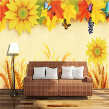 Custom 3d wallpaper sun flower wheat ears HD TV background wall high-grade waterproof material