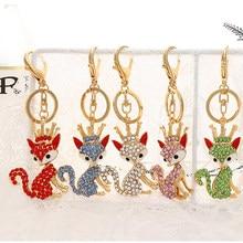Belle couronne renard lapin floue porte-clés anneau strass cristal pendentif porte-clés ysk-033 femmes