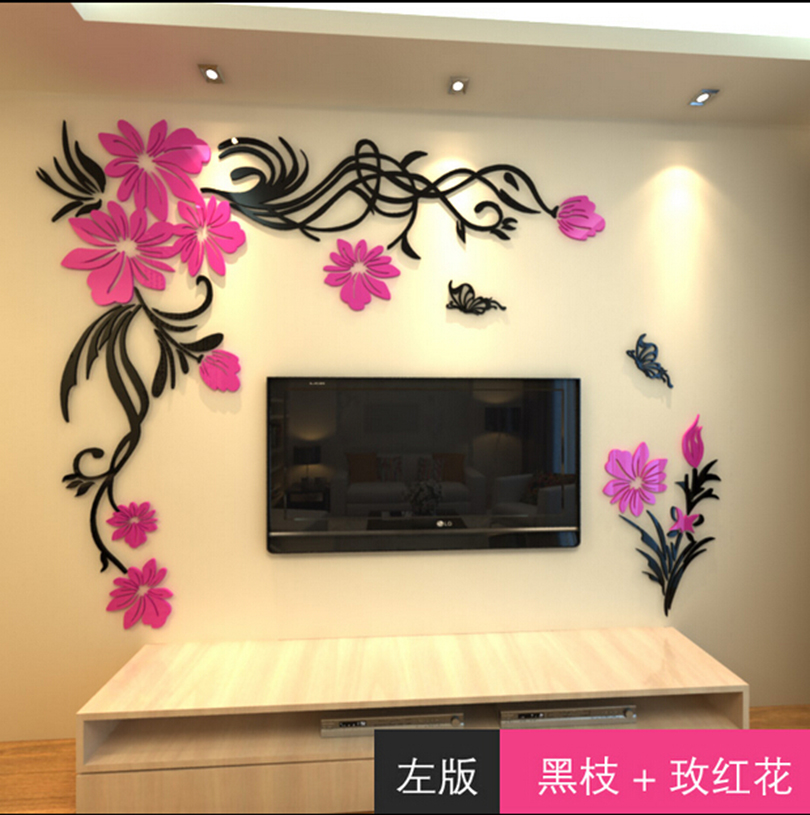 3d wall stickers home decor big rose tree crystal wall for Crystal home decorations