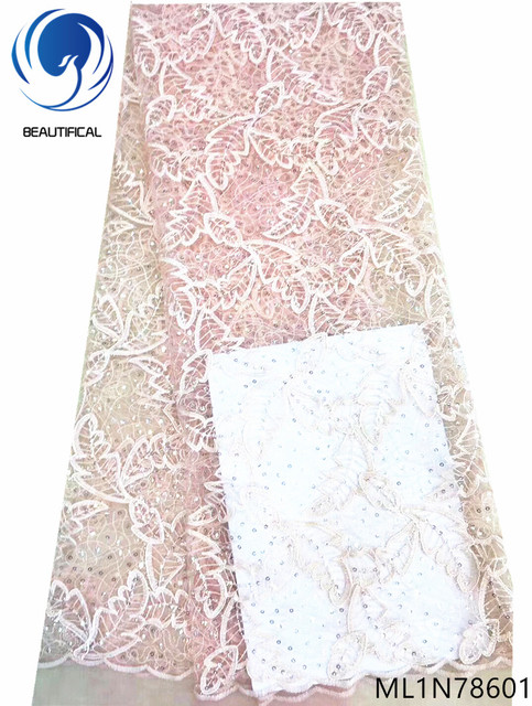 Beautifical wedding lace fabrics latest 2019 glitter sequin lace african sequins lace fabric african design cheap online ML1N786