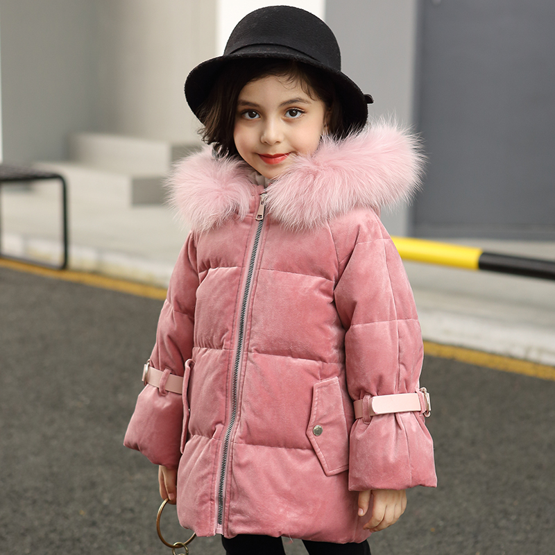 2018 Kids Down Jacket Thickening White Duck Down Warm Coat Baby Girl Boy Big Raccon Fur Parkas Toddler girls Warm Down Jacket