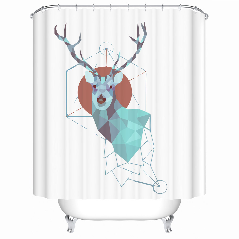 pretty deer customized waterproof bathroom shower curtain vintage polyester kitchen curtains children room door screen
