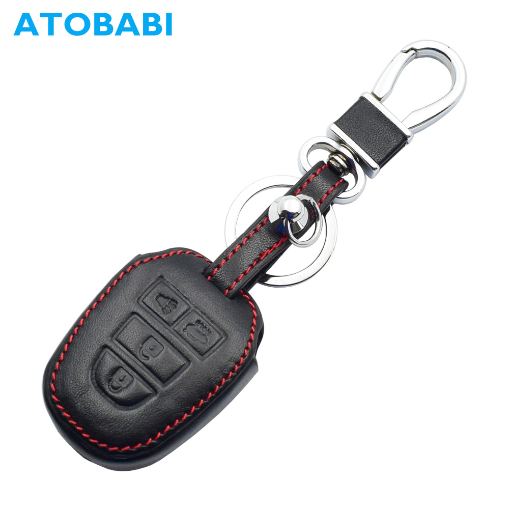 Top Layer Genuine Leather Car Key Case Auto Remote Control Shell Cover Keychain Protector for Toyota Corolla Camry 4 Buttons KeyTop Layer Genuine Leather Car Key Case Auto Remote Control Shell Cover Keychain Protector for Toyota Corolla Camry 4 Buttons Key