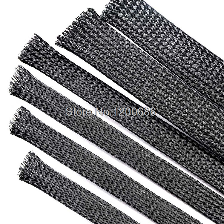 10m General Dia 10mm 16mm Cable Protection Sleeve Net Wire Protection Black Nylon Braided Cable Sleeve