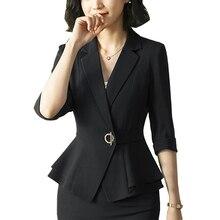 Women Turn-down pocket blazer coat women Ruched sleeve black suit