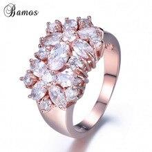 Bamos Luxury White Cubic Zirconia Flower Ring Exquisite Rose