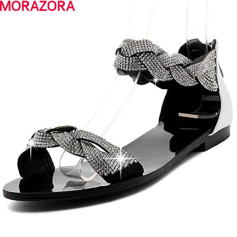 MORAZORA nowych kobiet sandały z prawdziwej skóry rhinestone słodkie lato top wysokiej jakości buty kobieta modne buty rozmiar 34 40 w Niskie obcasy od Buty na  Grupa 1