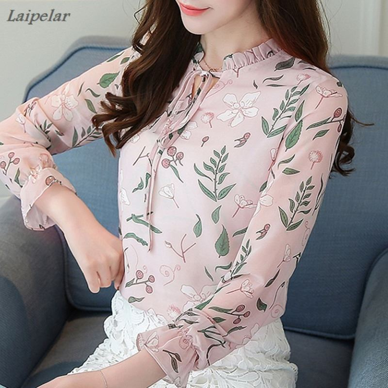2018 Women Chiffon Blouse Spring Tops Long Sleeve Blouses And Shirts Flower Printed Female Ladies Office Work Blusas Feminine in Blouses amp Shirts from Women 39 s Clothing