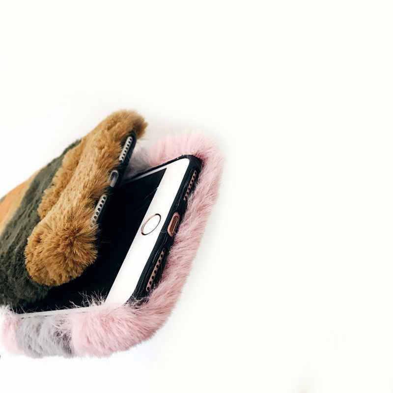 สีกำมะหยี่ตุ๊กตาโทรศัพท์สำหรับ iPhone 11 PRO MAX XS XR X 7 8 PLUS แฟชั่นสาวฤดูหนาว WARM สำหรับ iPhone 6 6 S PLUS Case