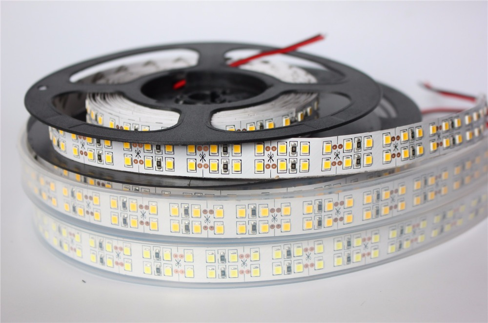 240LEDs/m SMD2835 LED Strip 12V 5m Non waterproof IP67 Waterproof Flexible LED Light 1200Leds Double Row LED Strip 2835 white недорого