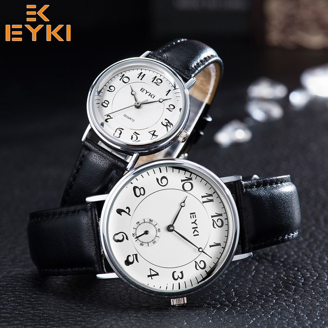 EYKI Retro Wrist watches Top Mens Women Watch Waterproof Leather Strap Quartz Movement Relogio Feminino masculino Montres Homme