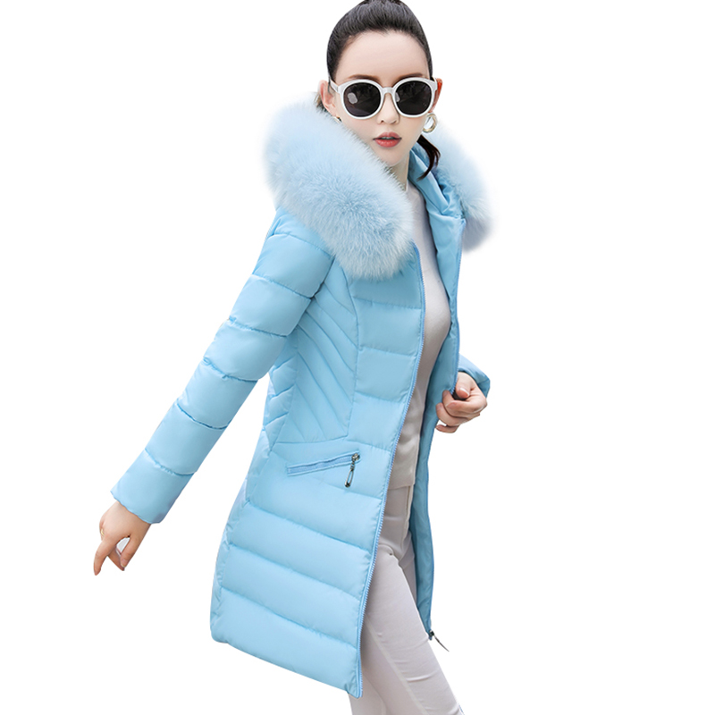 Women Coat Fur Collar Padded-Cotton   Parkas   Female Thicker Coats 2018 New Winter Jackets Medium-Long Hooded Overcoats Women Y126