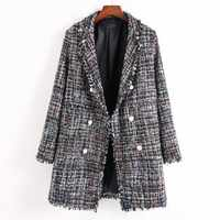 Wind Autumn And Winter Long Fund Women's Small Real Pearl Decoration Tassels Nothing Buckle Easy Lattice Woolen Loose Coat