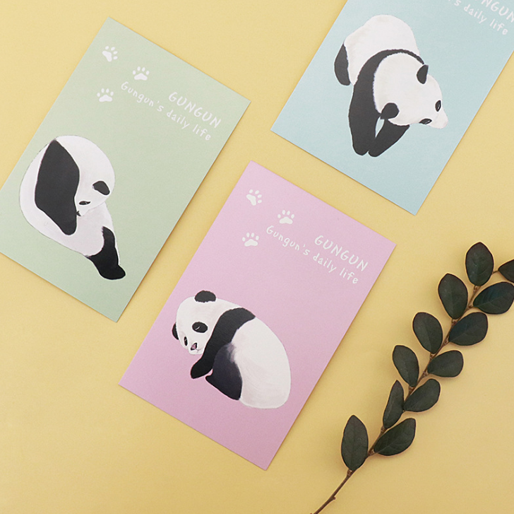 30 Pcs/pack Lovely Retro Panda Rolling Day Greeting Card Postcards ...