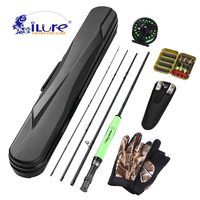 iLure Lightweight Portable Fly Fishing Rod and Reel Combo Carbon Fiber Fly Rod Pole Fly Fishing Tackle Pliers Flies Fishing Lure|Rod Combo|   -