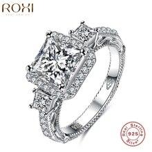 ROXI Anillos de Compromiso de Plata Del Encanto para Las Mujeres de Regalo de Navidad Tres Zircon 925-plata-joyería de Plata Del Encanto De escarda