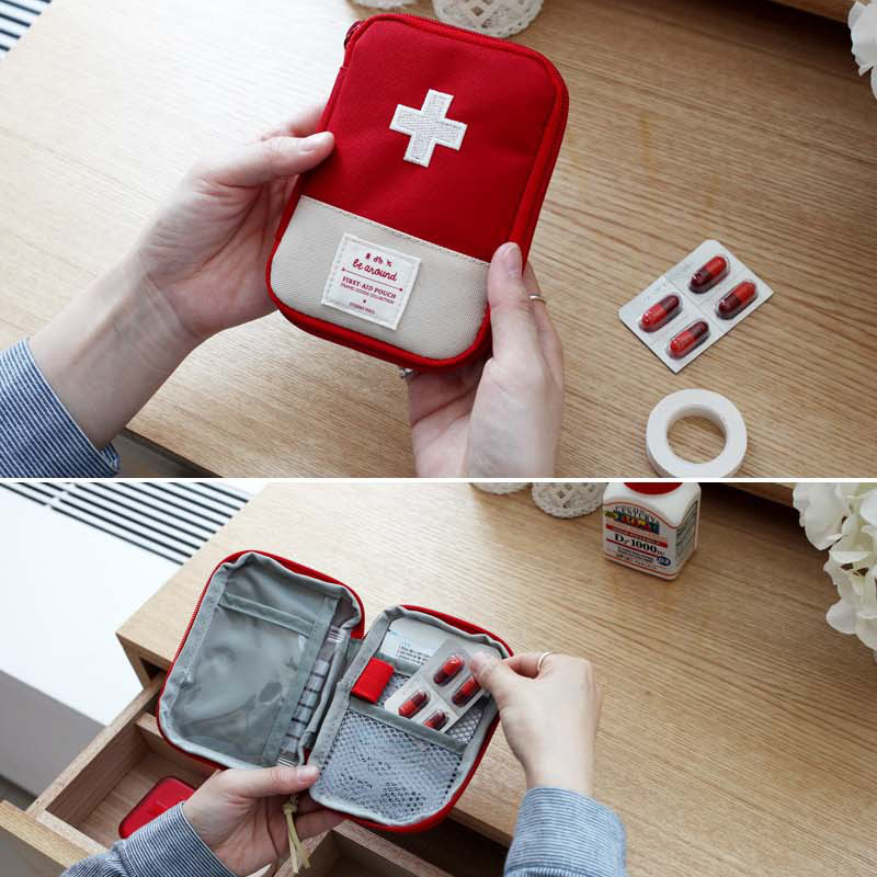 New Mini First Aid Kit Bag Portable Medicine Package Oxford cloth Medicine Divider Storage Organizer for Travel outdoor home(China)