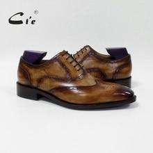 Cie Квадратный Носок Brogue Оксфорд 100% Натуральной Телячьей Кожи Дышащий Заказ Кожаной Обуви Пользовательские Кожа Мужчины Плоским Ручной OX-02-16